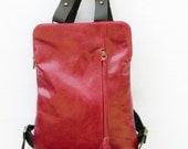 Red Leather messenger backpack bag, genuine leather,Rucksack, Day Pack, Cabin Bag, cotton lined, adjustable strap, soft leather