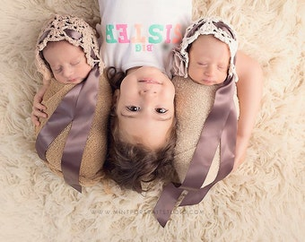 Twin Newborn Hats | Twin Newborn Photo Prop | Baby Lace Bonnet | Infant Baby Girl Hat | Newborn Photo Prop | Newborn Keepsake