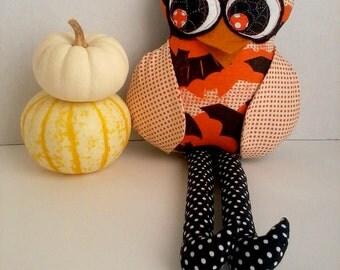 Stuffed owl doll, Halloween owl, Owl decoration, Plush owl, Halloween decoration, Patchwork cloth owl, Black orange owl toy, Fabric owl doll