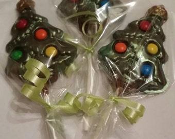 Chocolate christmas tree lollipop favors