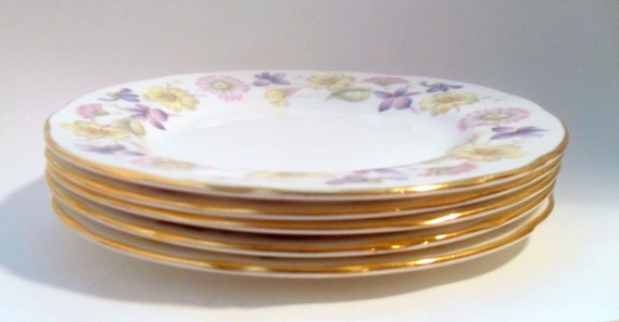 1960's Vintage Duchess Bone China Side Plates (5) with Spring Days Floral Pattern