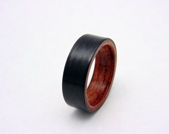 Carbon Fiber ring with straight grain Bubinga bentwood wood liner