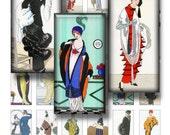 Vintage fashion - Digital Collage Sheet 1x2 inch size Images for dominos - INSTANT DOWNLOAD Digital Images