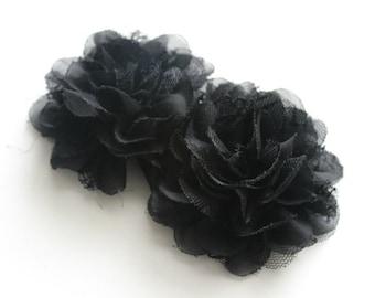 2 Large Chiffon Lace Flowers--Black