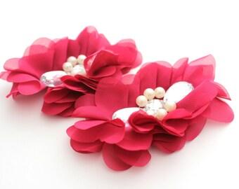2 Extra Large Tear Jeweled Pearl Flowers--Fuchsia