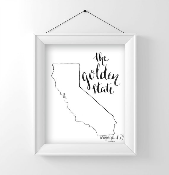 The Golden State, art print, calligraphy, typography, california state, state print