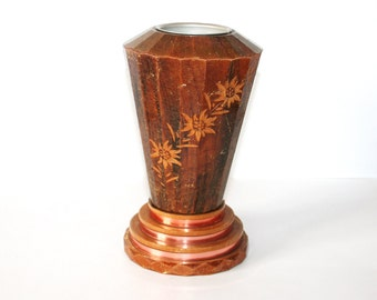 Unusual  - Chamonix M Blanc  - Vintage Vase In Wood copper With Metal Insert In Top /MEMsArtShop.