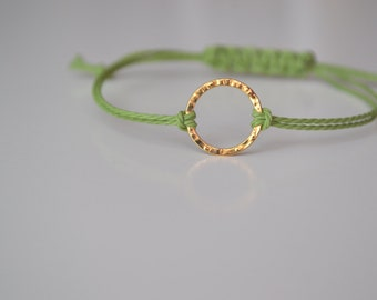 Green and Gold Eternity friendship Bracelet, Friendship, Adjustable bracelet, Esty, Bijoux