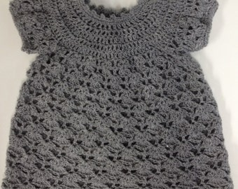 Hand Crocheted Light and Airy Scalloped Design Gray Baby Dress with Capped Sleeves Size up to 12 months