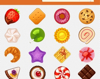Sweet Candy Clipart. Sweet treat Illustration. Food digital images. Lollipop, Candy, chocolate, cake clipart  194