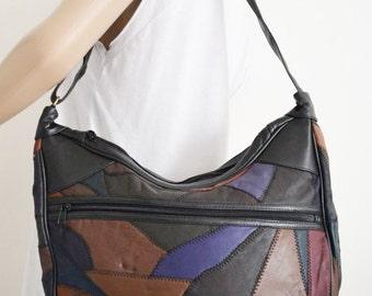 Patchwork Leather Purse, bag,Shoulder Bag,black,pink,brown