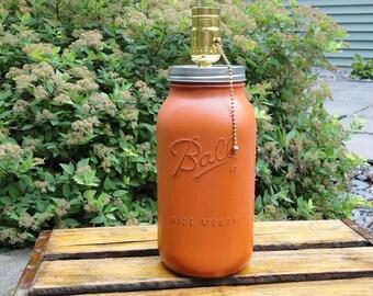 Mason jar lamp-Orange Mason Lamp-Rustic Mason Jar Decor-Orange Distressed Table Lamp-Mason Jar Lighting