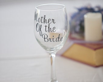Mother of the Bride/Groom wine glass with customized wedding date