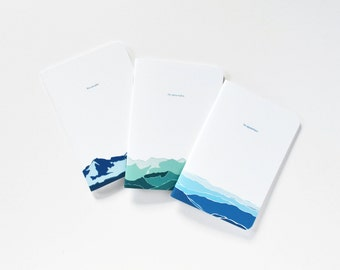 Pocket Journal Set of 3 | Illustrated Mountains Pocket Notebook Set