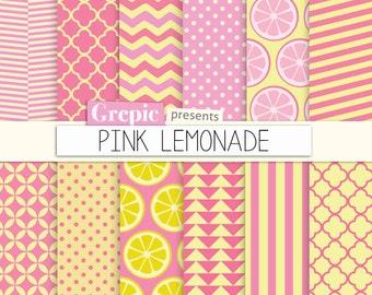 "Pink lemonade digital paper: ""PINK LEMONADE"" pink yellow backgrounds with chevron, polkadots, stripes, lemons, arrows, triangles, quatrefoil"