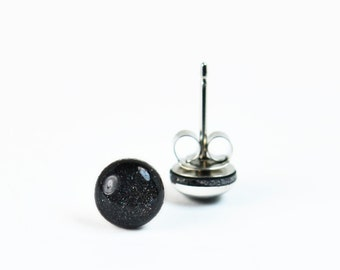 Stud Earrings, Black, Sterling Silver, Handmade Jewelry, Accessories