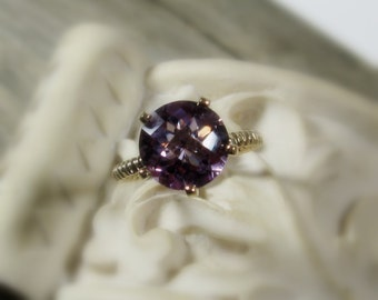 25% OFF Amethyst Ring, Bella Ring, Sterling Silver, Cocktail, non traditional, made to order, 14k gold