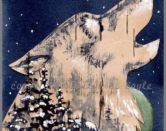 Aceo Original - BIRCH BARK Cutout of WOLF head on watercolor paper; night, moon, howling, stars. winter trees, miniature art