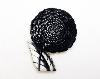 Black and White Dahlia Magnetic Pin - Wearable Black and White Floral Illustration Brooch
