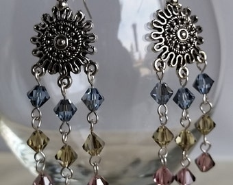 Chandelier Earrings with Swarovski Crystal Beads #037J