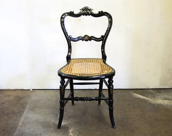 Shipping-English Black Lacquer and Mother of Pearl Chair