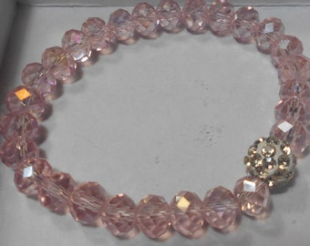 CLEARANCE Beaded Pink AB Crystal Bead Stretch Bracelet