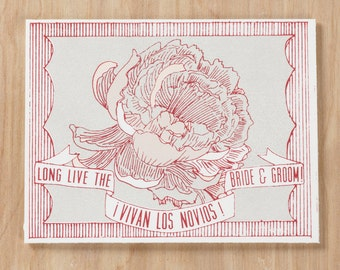 Vivan Los Novios!  Long Live The Bride & Groom Screen Printed Greeting Card