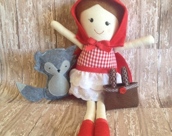 Little Red Riding Hood Fabric Cloth Doll 19""