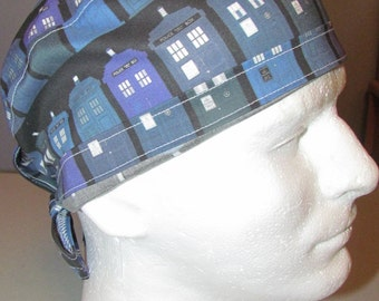 Blue Police Box Dr. Who Tardis BBC Tie Back Surgical Scrub Hat