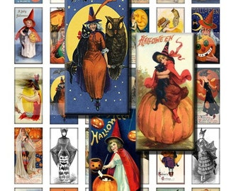 Vintage Halloween Witches Antique Digital Images Collage Sheet 1x2 inch Rectangles Domino Commercial INSTANT Download RD18