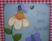 Small Hand painted Sign, You are Special, OFG, FAAP, Daisy, Butterfly, Blue, Gift, Friendship, Decorative, Hanging Sign