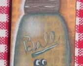 Hand painted, Frog, Ball Mason Jar, Magnet, OFG, FAAP, Acrylic, Domino, Blue, Yellow, Original, Gift, Small,