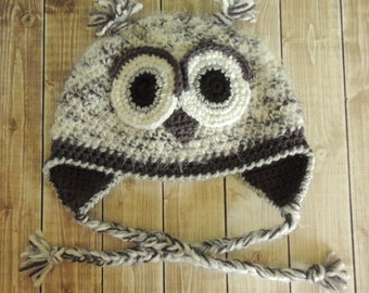 Adult Owl Crochet Hat