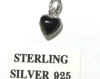 Sterling Silver Heart Charm Pendant - Small Heart charm for charm bracelet or necklace - Onyx, Sterling SIlver Charm, Heart Charm