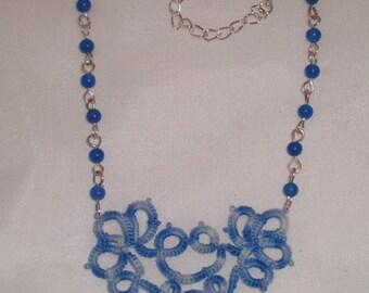 Collier Helmi - Dentelle frivolité et jade bleue