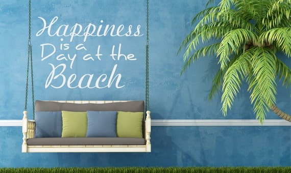 Items similar to vinyl decals beach decor happiness is a - Idees terrasses exterieures ...