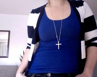 LONG Crystal Cross Necklace - Kelly Ripa Celebrity Sideways Cross Necklace