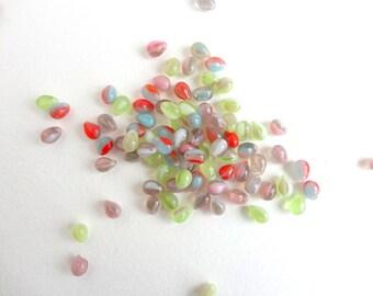 60 x 5x7mm Czech Glass Beads, Pastel Color Glass Drop Beads, Czech Drop Beads DRP0001