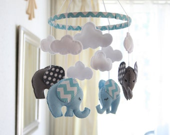 BABY BOY MOBILE - Nursery Mobile - Blue Grey Mobile -  Elephant Mobile - Chevron Polka Dot Mobile - Made To Order
