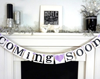 Coming Soon Banner / Baby Shower / Nursery Sign / Baby's Name / New Little One / Baby Shower Decor / Nursery Sign