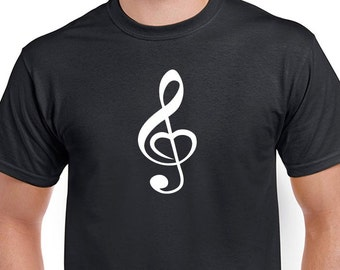 Treble Clef Heart T-shirt. Love music tee. Tshirt for musicians. Tee is Black direct screen printed with White ink..