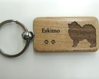 Eskimo Dog Wood Keychain - Customizable