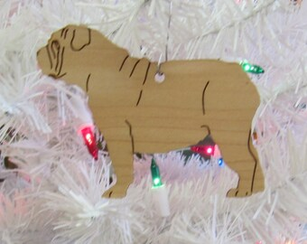 Bulldog Ornament in Wood or Mirror Acrylic Customizable with Name