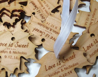 50 - 2 x 2 Maple Syrup Tags - Custom Wedding Tags - Wood Wedding Tags