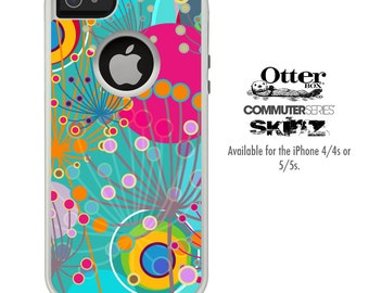 The Vibrant Colored Sprouting Shapes Skin For The iPhone 4-4s or 5-5s Otterbox Commuter Case