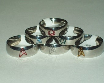Star Trek Engraved Stainless Steel Comm Badge or Emblem Patch Band Rings: TOS, TNG, DS9, Voyager