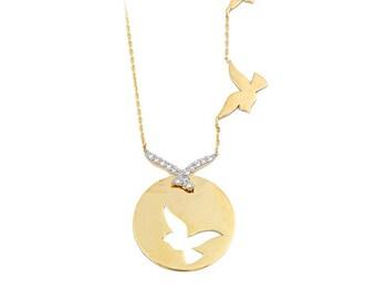 Flying Birds 14k Solid Gold Necklace