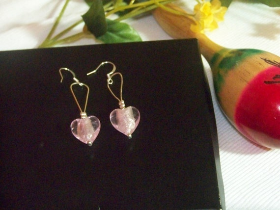 Earrings - Puffy Pink Foil Hearts