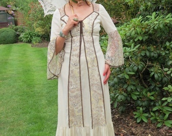Vintage 1970s Southern Belle Victorian Medieval Style Bell Sleeve Maxi Prairie Dress with Lace.