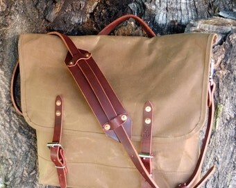 Waxed Canvas Messenger Bag with Buckle Leather Straps/Handle-Large Brown Bag Perfect for Laptop, Work, School, or Traveling